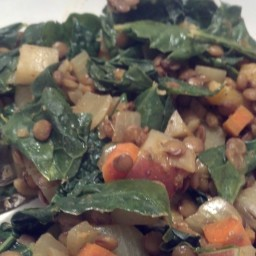 Curried Lentils and Kale Greens