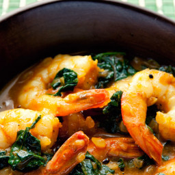 Curried shrimps and spinach recipe