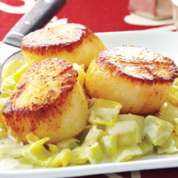 Curry-seared scallops with creamy leeks (CL 30 min)