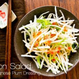 Daikon Salad (Radish Salad with Japanese Plum Dressing)