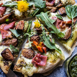 Dandelion Green Pesto, Fresh Fig and Gorgonzola Pizza with Prosciutto.