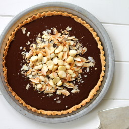 Dark Chocolate, Coconut and Macadamia Nut Tart