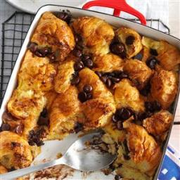 Dark Chocolate Croissant Bread Pudding Recipe
