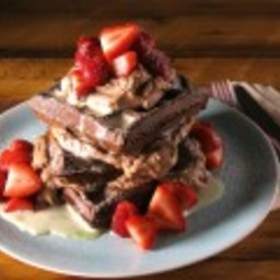 Dark Chocolate Waffles with White Chocolate Custard Sauce and Chocolate-Esp