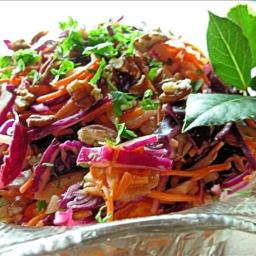 Dazzling Winter Slaw - Red Cabbage, Apple and Pecan Salad