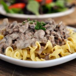 Delicious Ground Beef {or Turkey} Stroganoff