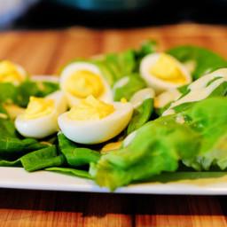 Deviled Eggs on a Nest of Butter Lettuce with Honey Mustard Dressing