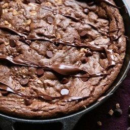 Double Chocolate Nutella Toffee Skillet Brownie