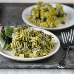 Double Spinach Pasta Casserole with Pesto and Asiago Cheese
