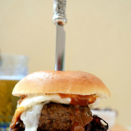 Dulce de Leche Goat Cheese Burgers with Caramelised Red Onions
