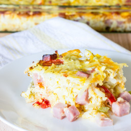 Easy Denver Omelet Hash Brown Casserole