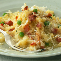 Easy risotto with bacon and peas