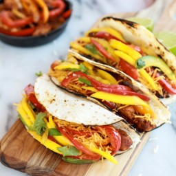 Easy Chicken Fajitas with Thai Mango Slaw + Coconut Rice