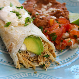 Easy Crockpot Chicken Verde Burritos with a Holiday Twist