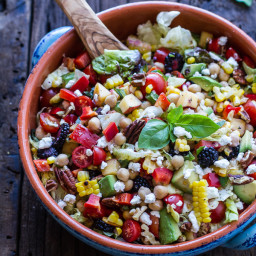 Easy Summer Herb and Chickpea Chopped Salad with Goat Cheese.