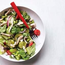 Edamame and Chicken Greek Salad