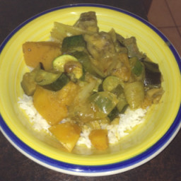 Eggplant, pumpkin & zucchini curry