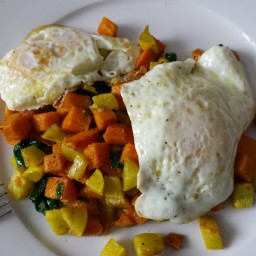 Eggs with Sweet Potato Hash