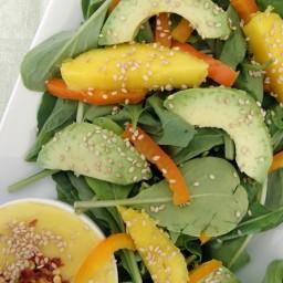 Ensalada de arúgula con mango + aderezo de mango picoso