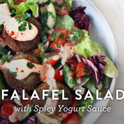 Falafel Salad with Spicy Yogurt Sauce