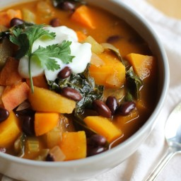 Fall Harvest Vegetarian Chili with Kale
