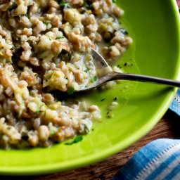 Farro and Arborio Risotto With Leeks, Herbs and Lemon