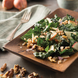 Farro and Dinosaur Kale Salad with Coconut Milk Shallot Dressing