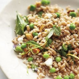 Farro, Pea Shoot, and Goat Cheese Salad