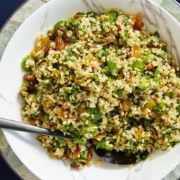 Farro with Pistachios, Mixed Herbs, and Golden Raisins