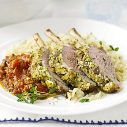 Feta-crusted lamb with rich tomato sauce