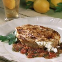 Feta Filled Chicken Breasts with Cumin, Tomatoes and Mint