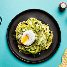 Fettuccine with Asparagus, Beet Green Pesto, and Poached Egg