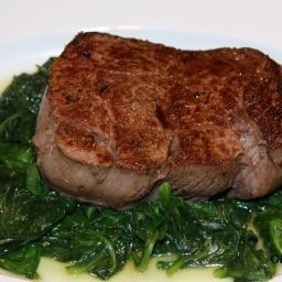 Filet Mignon with Butter Sauteed Spinach