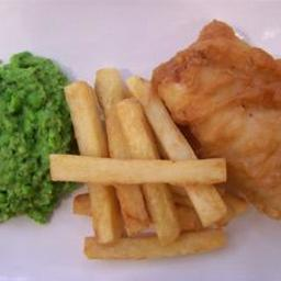 Fish and thick-cut chips with tartare sauce and mushy peas