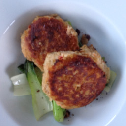 Fish cakes with Pak Choi and Mango dipping sauce