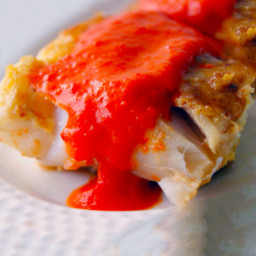Fish with Potato Crust and Red Pepper Sauce