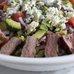 Flank steak, tomato and watermelon salad