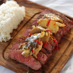 Flat Iron Steak with Mushroom Stir Fry