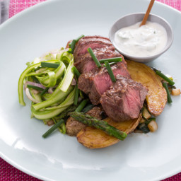 Flat Iron Steakswith Ramps, Fingerling Potatoes and Shaved Asparagus Salad