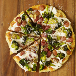 Flatbread with Charred Broccoli and Roasted Grapes