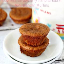 Flourless Strawberry Almond Butter Mini Blender Muffins