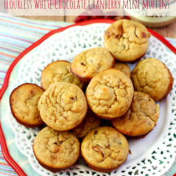 Flourless White Chocolate Cranberry Mini Muffins