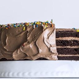 Four-Layer Chocolate Birthday Cake with Milk Chocolate Ganache and Nutella
