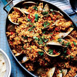 Freekeh Paella with Clams and Almond Aioli