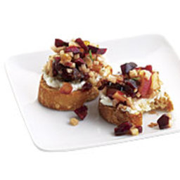 Fresh Cherry Relish and Goat Cheese Crostini