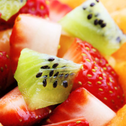 Fresh Fruit Salad with Honey, Mint and Lime Syrup