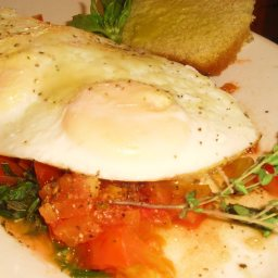 Fried Eggs with Onion And Tomato