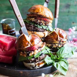 Fried Mozzarella and Caramelized Peach Caprese Burger with Balsamic Drizzle