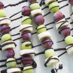 Frozen Grape Skewers with Chocolate Sauce