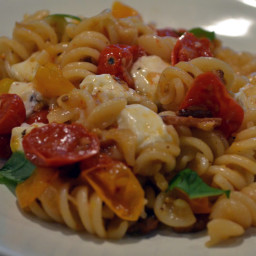 Fusilli with Bacon, Shallots, Fire Roasted Grape Tomatoes, Fresh Mozzarella
